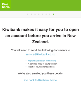 Kiwibank online application email