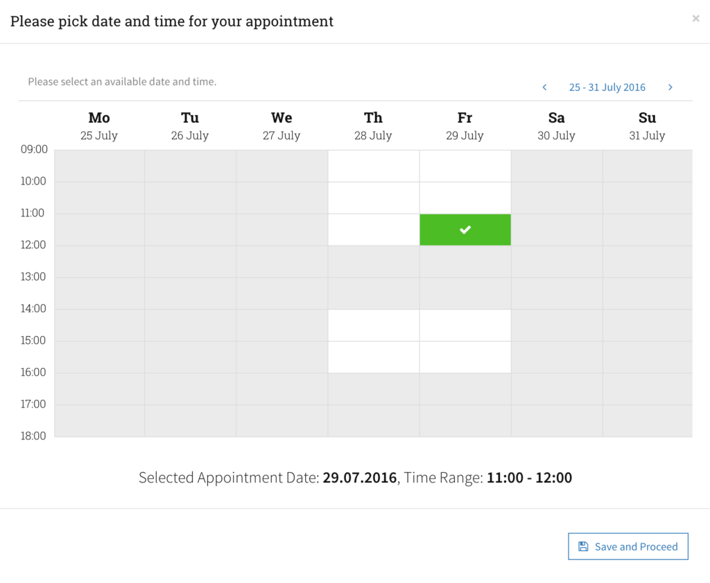 Choose your appointment Date and Time