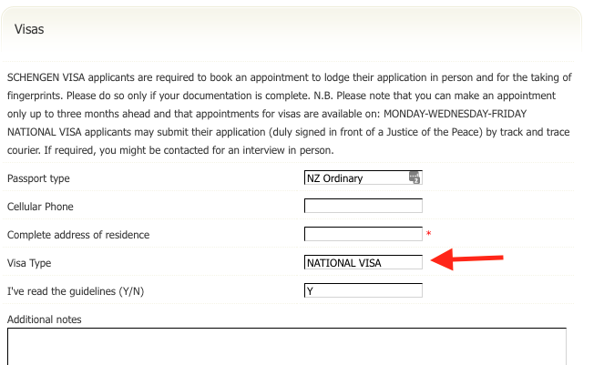 Visa appointment form
